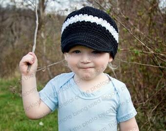 "Crocheted Newsboy Hat  ""The Devin"" Navy Light Blue Blue White Skater Brimmed Hat Lid Cap"