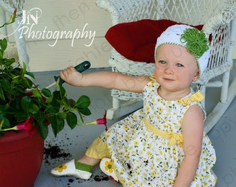 """Crocheted Beanie The """"Samantha Jean"""" White, Green, Open Weave, Loopy Flower, Choose Your Color"""