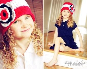 "Crocheted Cloche ""The Amber"" Bucket Hat Red, White, Blue, Flower Toddler, Girl"