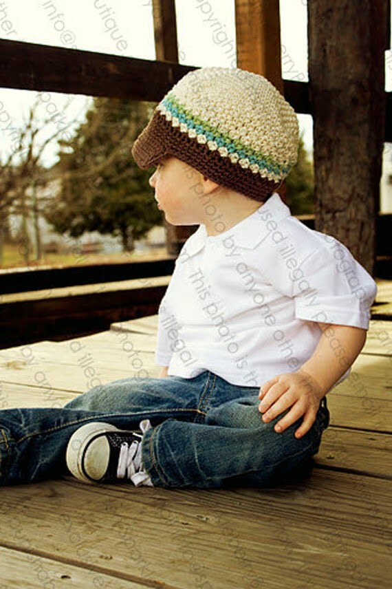 "Crocheted Newsboy Hat The ""Raidyn Deyn"" Ivory, Chocolate, Light Blue, Lime Brim Skater Stripes Trendy"
