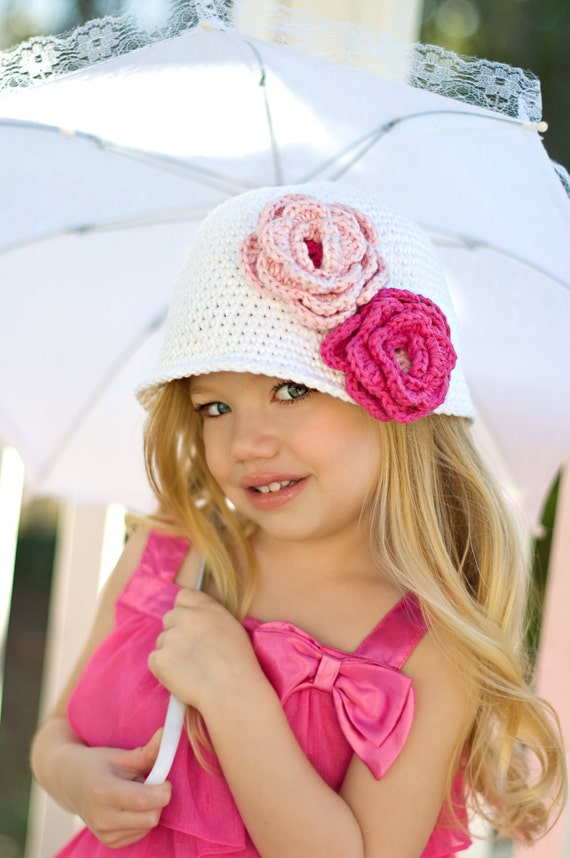 "Crocheted Cloche Hat ""The Emma Rose"" White, Hot Pink, Pastel Pink Bucket Hat Choose your Size/Colors"