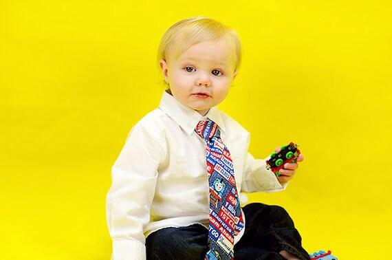 Little Boys, Toddler Thomas the Train Tie  Blue, White, Red