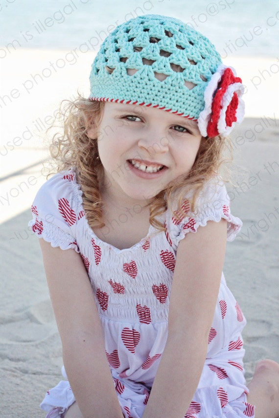 """Crocheted Beanie """"The Camille"""" Robin's Egg Blue, White, Red Open Weave Beanie Layered Flower Trim"""