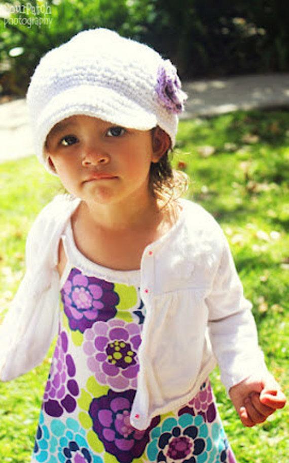 "Crocheted Newsboy Hat ""The Allie"" White, Hot Purple, Lavender Brimmed Hat Trim Visor Beanie"