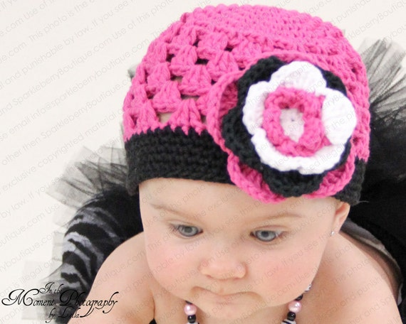 "Crocheted Beanie Hat Hot Pink, Black, White ""The Lilly Grace"" Costume Photo Shoot"