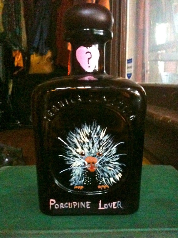 Do You Love Me Porcupine Upcycled Tequila Decanter