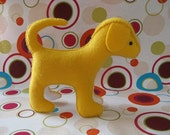 Yellow felt dog softie - Waldorf style