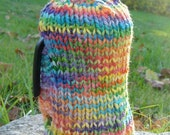 French press cozy - rainbow with white buttons