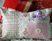 Teddy Toy Pocket Pillow in Story Time Pink