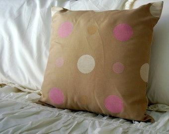 SALE Avery Polka Dot Pillow in pink and tan / free shipping / polka dot nursery bedding / pink little girl bedding /polka dot neutral pillow