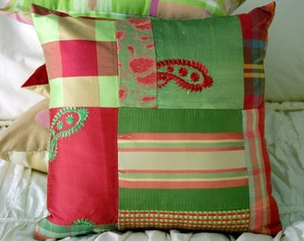 SALE Watermelon Silk Patchwork Cushion / free shipping pillow / green and pink nursery decor / lime and hot pink girls bedding / paisley