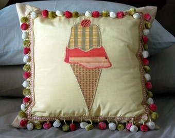 Ice Cream Cone Cushion / custom appliqued pillow / pink and yellow bedding / pom pom fringe pillow / girls room decor / feminine home decor
