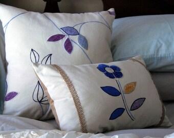 Tribecca Pillow Set / blue velvet & natural linen bedding / daisy flower pillow / embroidered pillow / minimalist home decor /neutral pillow