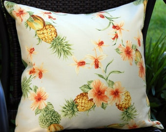 Tahitian Breeze Sun Porch Patio Pillow in Ivory / tropical pineapple pillow/ indoor outdoor / Caribbean islands / beach house / Tommy Bahama
