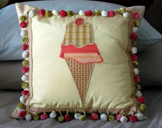 Ice Cream Cone Cushion / custom appliqued pillow / pink and yellow bedding / pom pom fringe pillow / girls room decor / feminine home decor