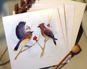Winter Visit set of four cards