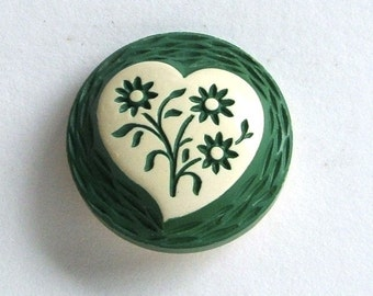 Vintage 1930s Buffed Celluloid Button-Carved Flowers within a Heart