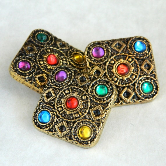 Set of Three Square Metalized Plastic Buttons with Faux Jewels-MP1