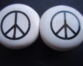 Ceramic PEACE beads from Greece x 2 White