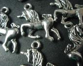 unicorn metal charms  tibetan silver coloured x 10 DESTASH