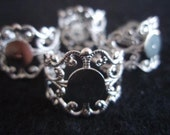 Filigree blank metal silver tone ring bases x 4