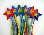 Six Shooting Stars-- Wool and ribbon toys to throw, chase and catch