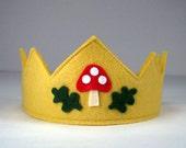 Woodland Crown -- Wool felt crown with mushroom motif