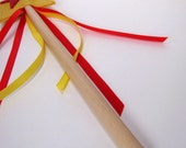 Wool and Wood Magic Wand -- yellow and red