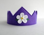 Wool Felt Crown -- violet with white flower