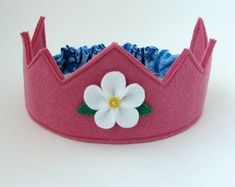 Wool Felt Crown -- rose pink with white flower