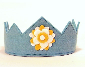 Wool Felt Crown -- Aqua with yellow and white flower