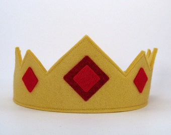 Wool Felt Crown -- royal crown with red jewels