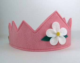 Wool Felt Crown -- pink with white flower
