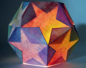 Star Lantern Kit -- materials and directions to make TWO dodecahedron lamps -- waldorf inspired handwork project