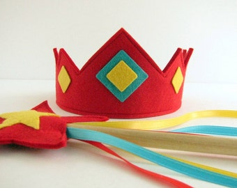 Wool Felt Crown and Wand
