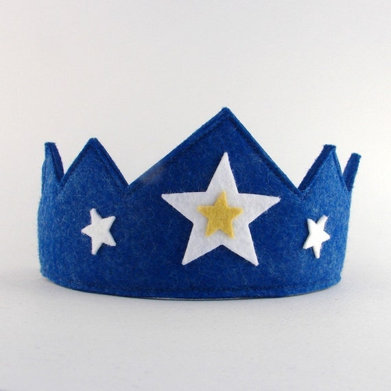 Wool Felt Crown --blue with stars