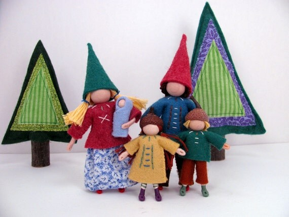 Woodland Family -- Family of five waldorf inspired bendy dolls