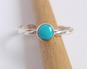 Turquoise Twist Ring, Silver Turquoise Ring