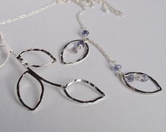 Leaf Lariat Necklace, Iolite