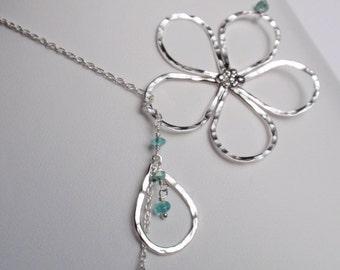 Flower Lariat Necklace, Apatite