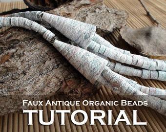 Polymer Clay TUTORIAL - Faux Antique Organic Beads - lesson DIY digital download PDF