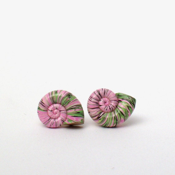Post stud earrings - pink and green striped sea shell - women jewerly - free shipping worldwide