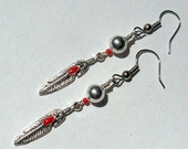 Native American Beaded Earrings (Red Feather)