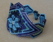 Native American Beaded Bracelet in Blues, Turquoise, Green, Purple with an Art Deco Feel