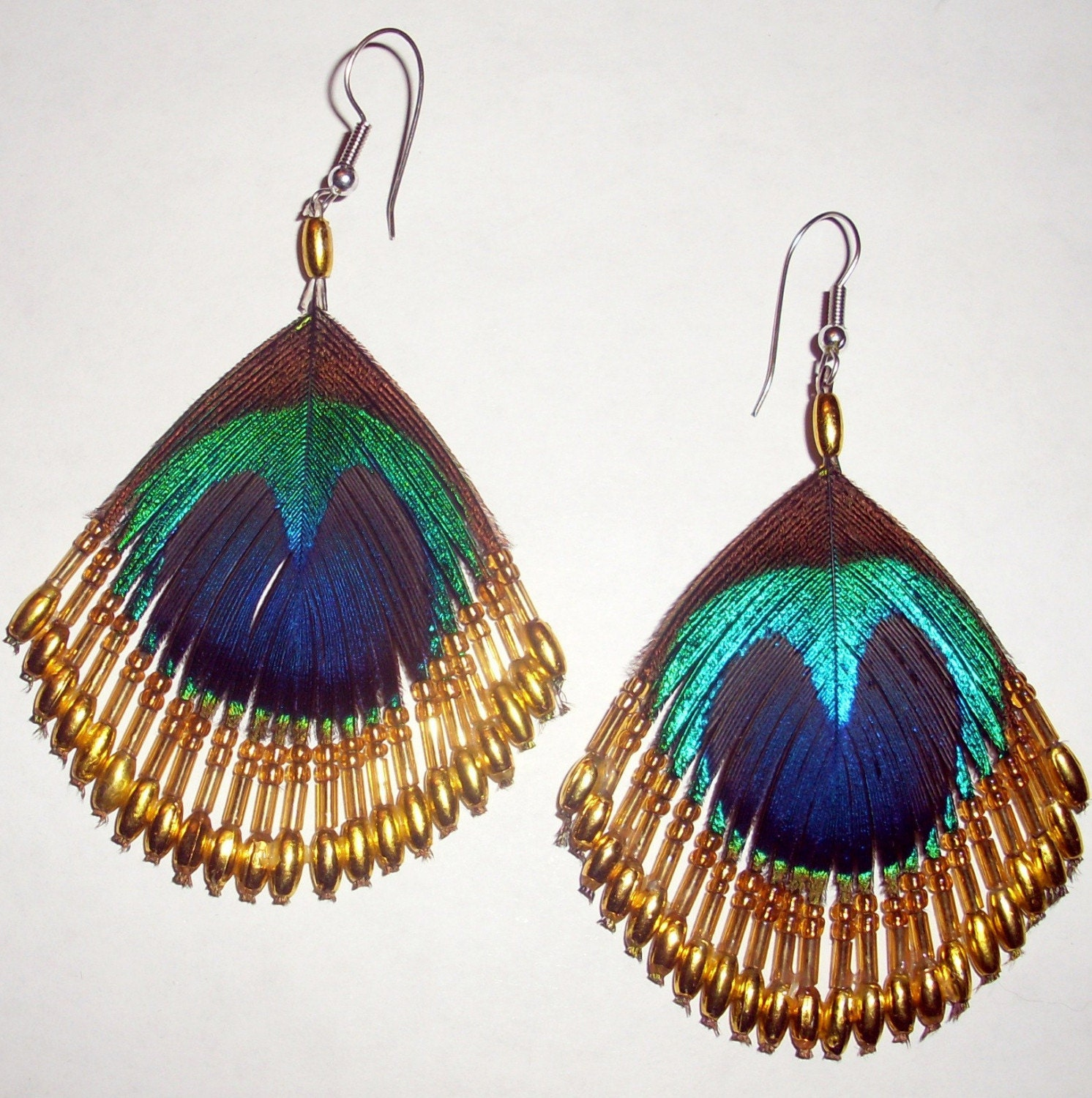 native american peacock feather earrings