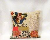 Fushia Floral and Tan Boho Patchwork Pillow