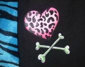 ooak hand painted jeans black twill pants pink leopard heart skull cross bones sz medium large womens flare