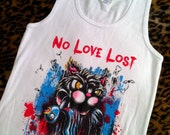 Ladies No Love Lost tank top w blood black cat dead swallow sparrow rockabilly pinstripe punk tees shirt M L Xl