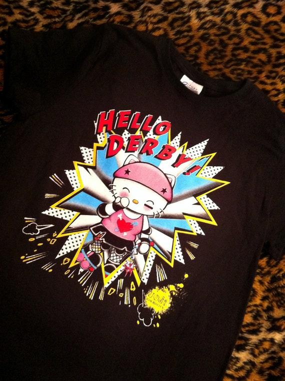 sale last one HELLO DERBY roller derby skates punk gothic t shirt tshirt women plus size ladies XL