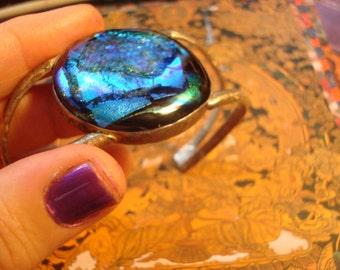 COSMIC  Dichroic Glass Sterling cuff